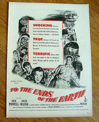 1948 Movie Ad TO THE ENDS OF THE EARTH Dick Powell Signe (To The Ends Of The Earth 1948)