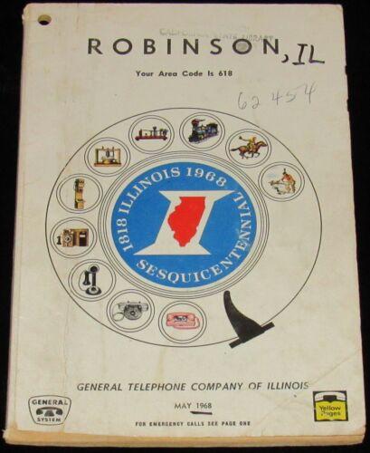 1968 ILLINOIS TELEPHONE DIRECTORY, ROBINSON, AREA CODE 618