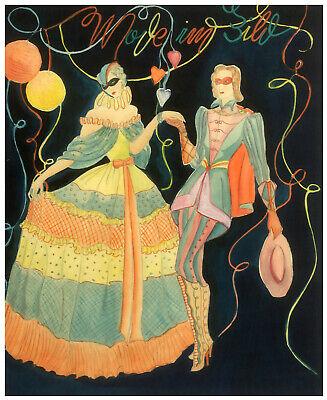 Kostümball, Mode im Bild, Original Aquarell um 1920 ()