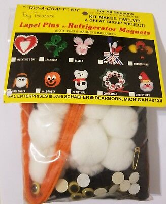 Halloween Witch Tiny Treasure Pins Magnets Kids Group Craft Kit Merri Mac VTG - Halloween Magnet Craft