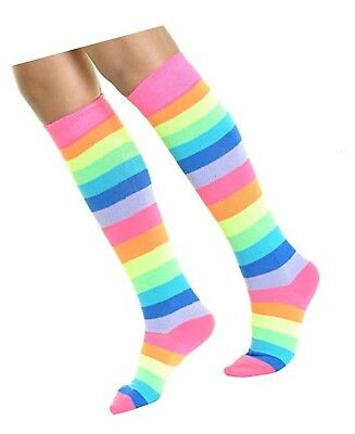 Lady's Neon Rainbow Striped Striped Knee High 1 Pair Socks (Angelina) - Neon Knee High Socks