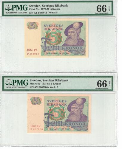 SWEDEN Lot of 2 notes x 5 Kronor 1947-81 Pick# 51c,d PMG: 66 EPQ GEM UNC.(#1515)