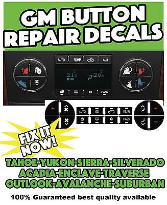 2009 2011 Yukon Denali Tahoe Lt Ac Button Climate Control Decals Fan Plus Minus