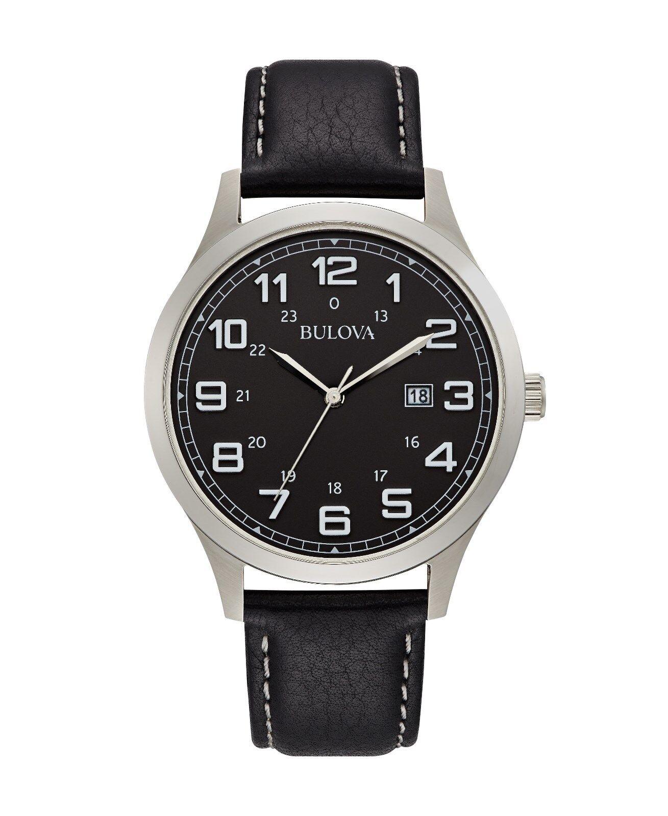 Bulova Men's Quartz Date Silver Tone Case Black Leather Strap 42mm Watch 96B276