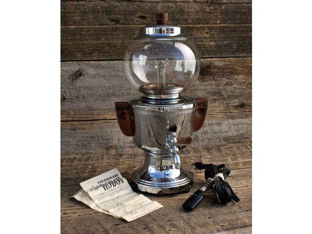 Antique Faberware Robot Coffee Maker Chrome & Glass