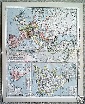 rare map of the germanic kingdoms and the east roman empire in 486 usd ...