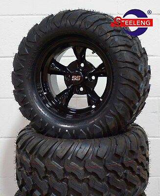 "GOLF CART 12"" BLACK GODFATHER WHEELS and 22""x11""-12"" AT/MT TIRES (4) EXCLUSIVE"