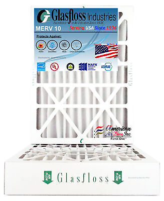 Glasfloss 16x25x4, 4 Inch MERV 10 (Qty:2) Pleated AC Furnace Filter Made in USA ()