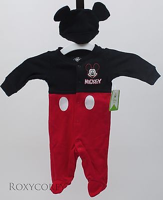 - Disney Infant Mickey Mouse Black Red Sleeper with Hat Outfit Size Newborn NWT