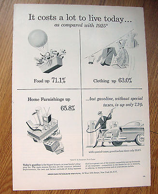 1955 American Petroleum Ad  Costs Lot to Live Today Gas