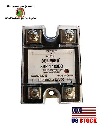 Solid State Relay Ssr Dc 100a 3-32vdc 60vdc Output For Wind Generator Solar