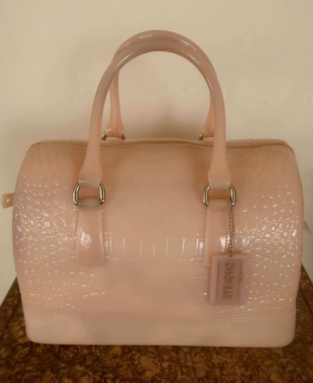 Sac candy bag *by furla boston *italy *rare *rose faÇon croco *new offer 150 €