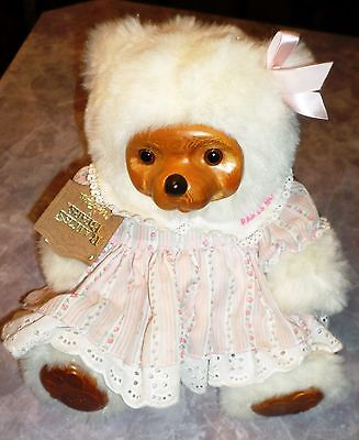 Vintage Raikes Teddy Bear Sally Wood Face Feet Signed Numbered Tag 1988 White