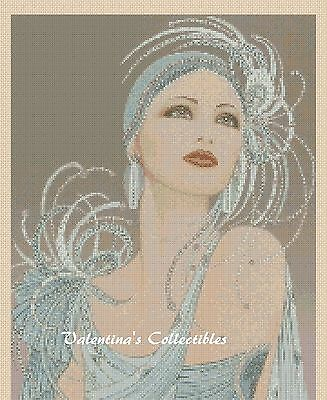 Art Deco Lady in Blue Dress Counted Cross Stitch COMPLETE KIT #1-137