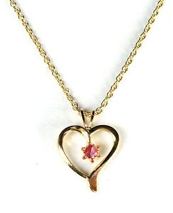 New Gold Plated Heart Necklace Chain Ruby Red Stone ...