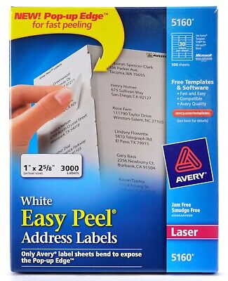 Avery 5160 White Easy Peel Laser Address Shipping Labels 65 Sheets 2000