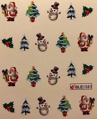 (Nail Art Water Decals Christmas Tree Santa Snowman Holidays BLE1581)