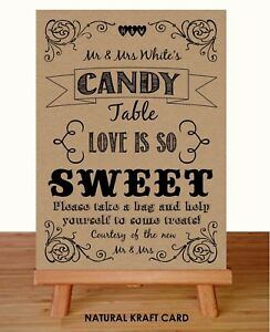 Sweet Table Cart Candy Bar Buffet Wedding Sign Recycled Kraftcard Rustic