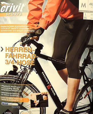 Herren Dreiviertel Fahrradhose 3/4 Radhose Kurz Sitzpolster M L XL 48-58  NEU