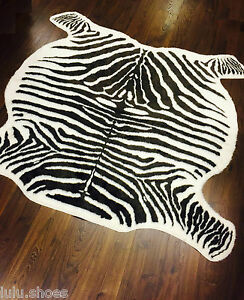 zebra hide rug carpet faux fur off white brown. Black Bedroom Furniture Sets. Home Design Ideas
