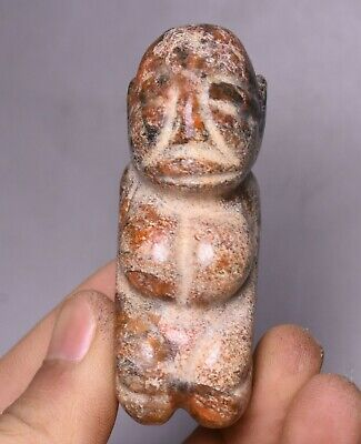 7CM China Hongshan Culture Old Jade Carve People Person Statue Amulet Pendant