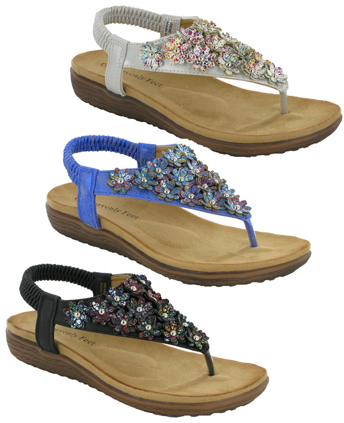 Details about  /Heavenly Feet Irene Ladies Sandals Flip Flops Padded Cushioned Comfort Shoes