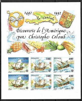 SMT, Monaco, 1992, Europa-Cept, souvenir sheet IMPERFORATE, CV € 350, MNH