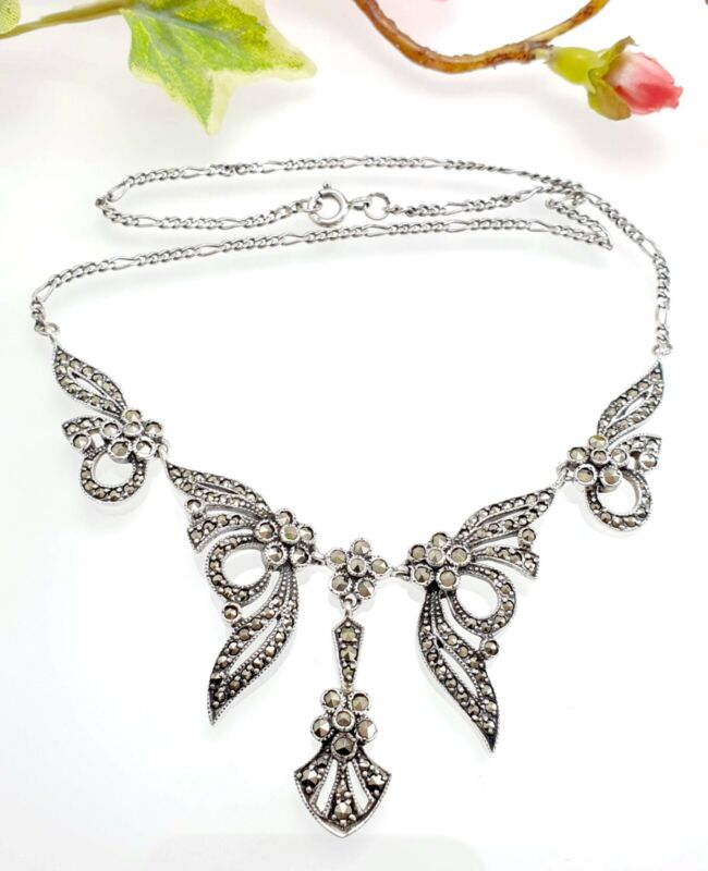 Vintage Style Sterling Silver & Marcasite Lavalier Necklace