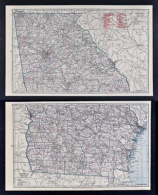 c1930 Hammond Railroad 2 Maps Georgia Atlanta Savannah Athens Dalton Rome GA RR