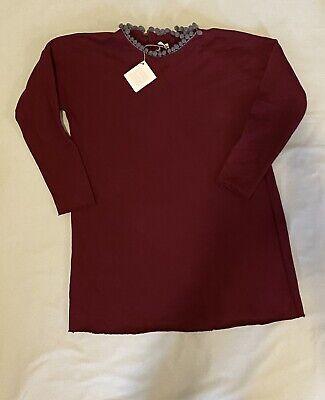 NWT $108 La Bottega Di Giorgia Size 10 Dress Tunic Sweatshirt Burgundy Balzo Top