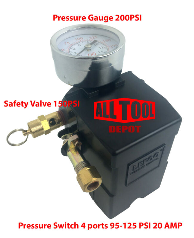 Air Compressor Pressure Switch set 4 Port 95-125 PSI w/ Gauge w/ Safety valve