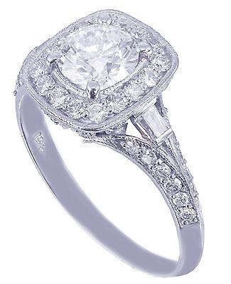 GIA H-VS2 14k White Gold Round Cut Diamond Engagement Ring Deco Prong 1.95ctw 7