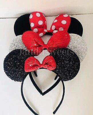 3PC Minnie Mouse Red-black-Silver Bow-Mickey Mouse Ears Headband Ears-Disney - Black Minnie Mouse