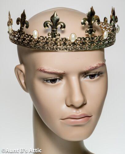 Crown Gold Metal Fleur de Lis & Pearl Design Adjustable Renaissance Costume Acc