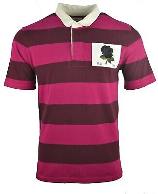 KENT & CURWEN HOOPED ROSE CHEST PATCH RUGBY POLO SHIRT DAVID BECKHAM 1926 STRIPE