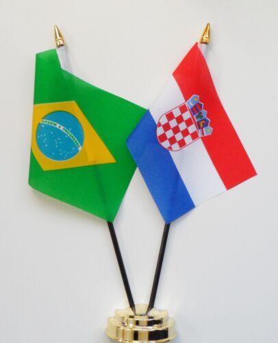 Brazil & Croatia Double Friendship Table Flag Set