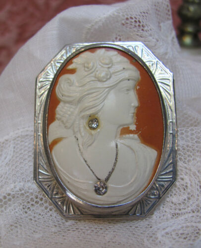 VTG 1920s Large *ART DECO CELLULOID Greco-Roman CAMEO BROOCH with Brilliants