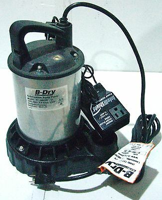 B-dry 12hp Submersible Sump Pump Probe Switch High Water Alarm Leaking Oil