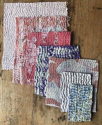 Vintage Time Worn In Kantha Stitch Quilt Pieces - Scrap Pack Bundle Cotton Check