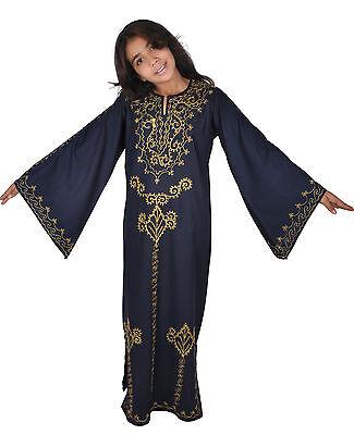 Kinder Kaftan Mädchen Kleid Prinzessin Kostüm d.blau-gold im 70er Look - KK00139