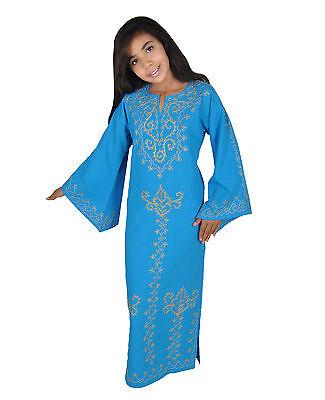 Kinder Kaftan Mädchen Kleid Prinzessin Kostüm türkis im 70er Look - KK00137