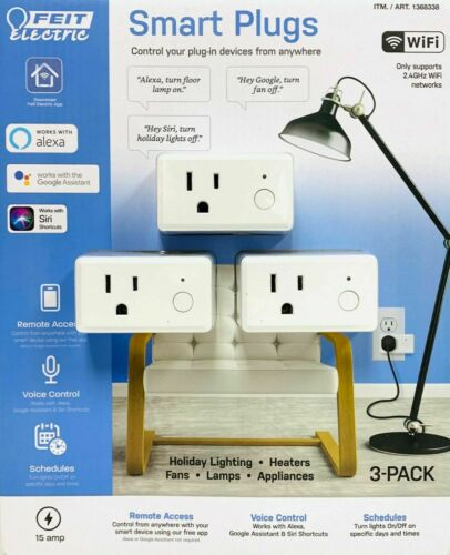 Feit Electric Wi-Fi Smart Plug, 3-pack  Alexa, Siri