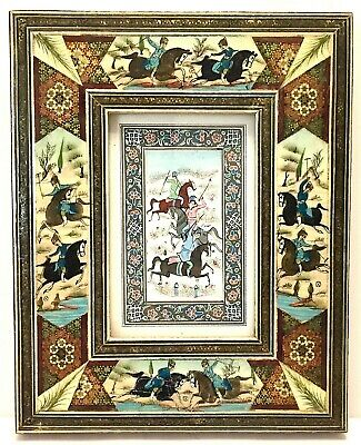 PERSIAN MINIATURE PAINTINGPrint Polo Players Khatam Frame Images InlaidMarquetry