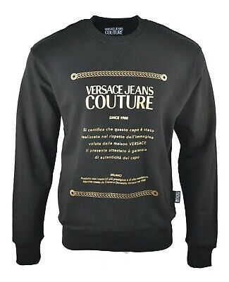 VERSACE JEANS COUTURE BLACK GOLD FOIL ETICHETTA LABEL PRINT SWEATSHIRT JUMPER
