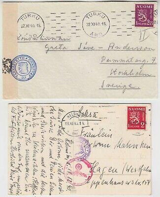 FINLAND 1940 CENSOR card *HELSINKI-HAGEN GERMANY* & censor cover TURKU-STOCKHOLM
