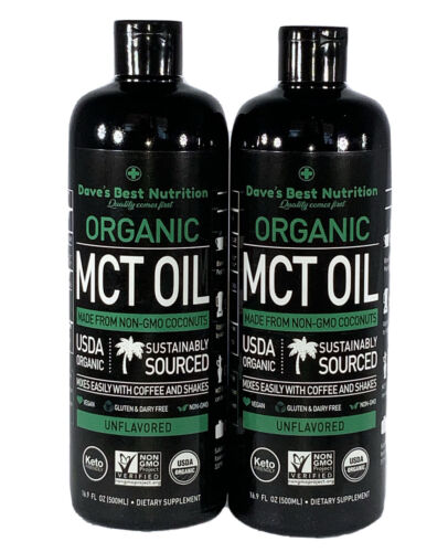 2 Pack Premium MCT Oil KETO  and Vegan diet Friendly Two 16o