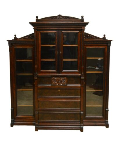 Antique Victorian Walnut Bookcase w. Desk