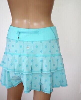 Lululemon Run Pace Setter Skirt Blue Teal Wee Stripe Polkadot Women Sz 4