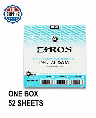 Dental Endodontic Rubber Dam Latex Medium Gauge 5x5 Blue - 52box Eros