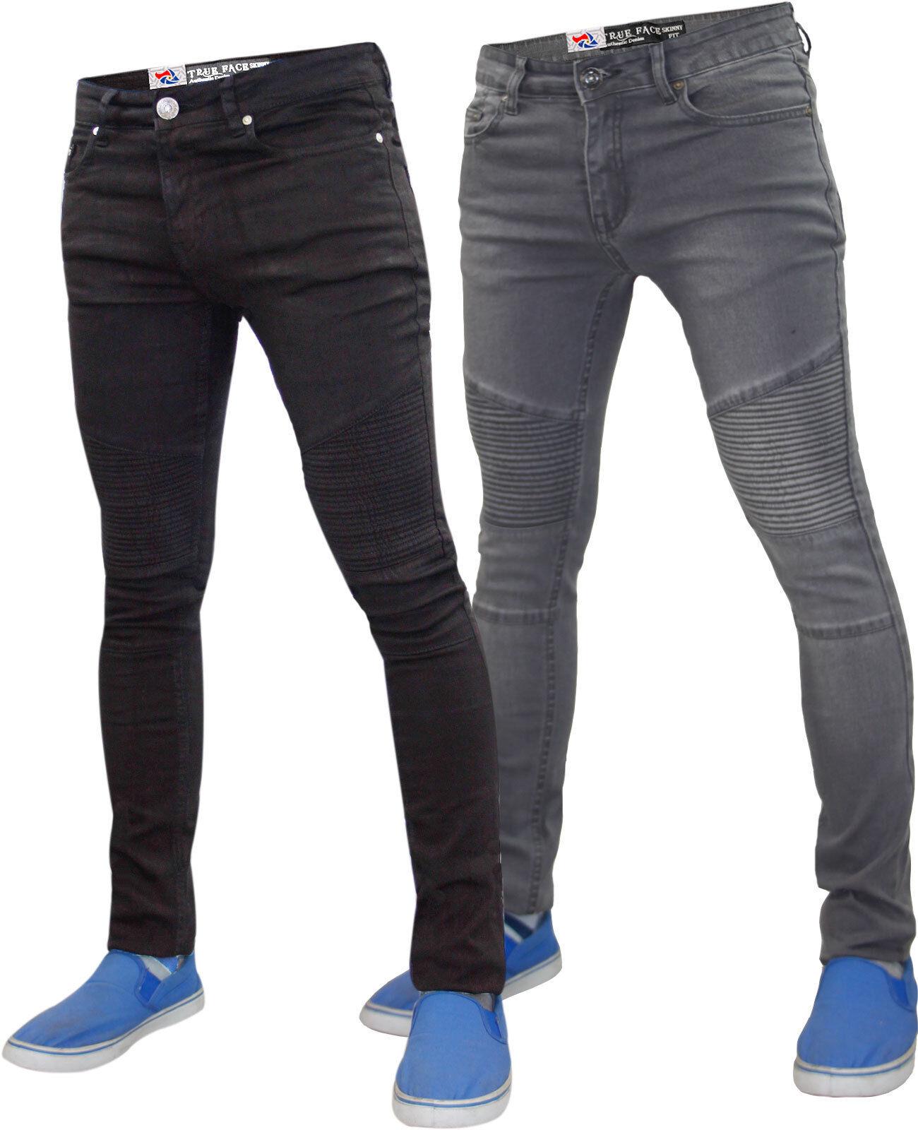 herren designer true face biker super skinny fit jeans. Black Bedroom Furniture Sets. Home Design Ideas